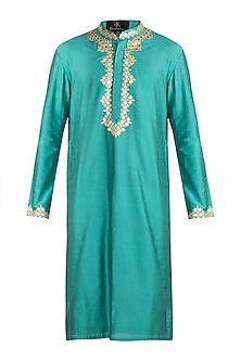 Mint Green Leather Embroidered Kurta by Diya Rajvvir Men