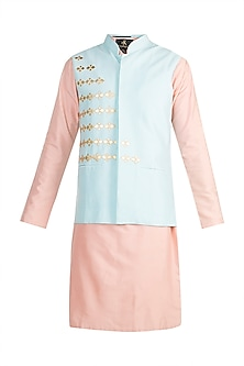 Powder Blue Embroidered Bundi Jacket With Peach Kurta by Diya Rajvvir Men