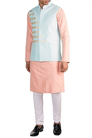 Powder Blue Embroidered Bundi Jacket With Peach Kurta by Diya Rajvvir Men