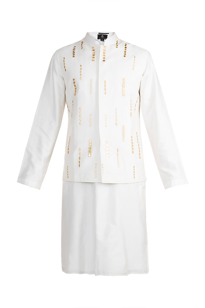 Off White Embroidered Bundi Jacket With Kurta by Diya Rajvvir Men