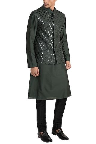 Olive Green Acrylic Embroidered Bundi Jacket With Kurta by Diya Rajvvir Men