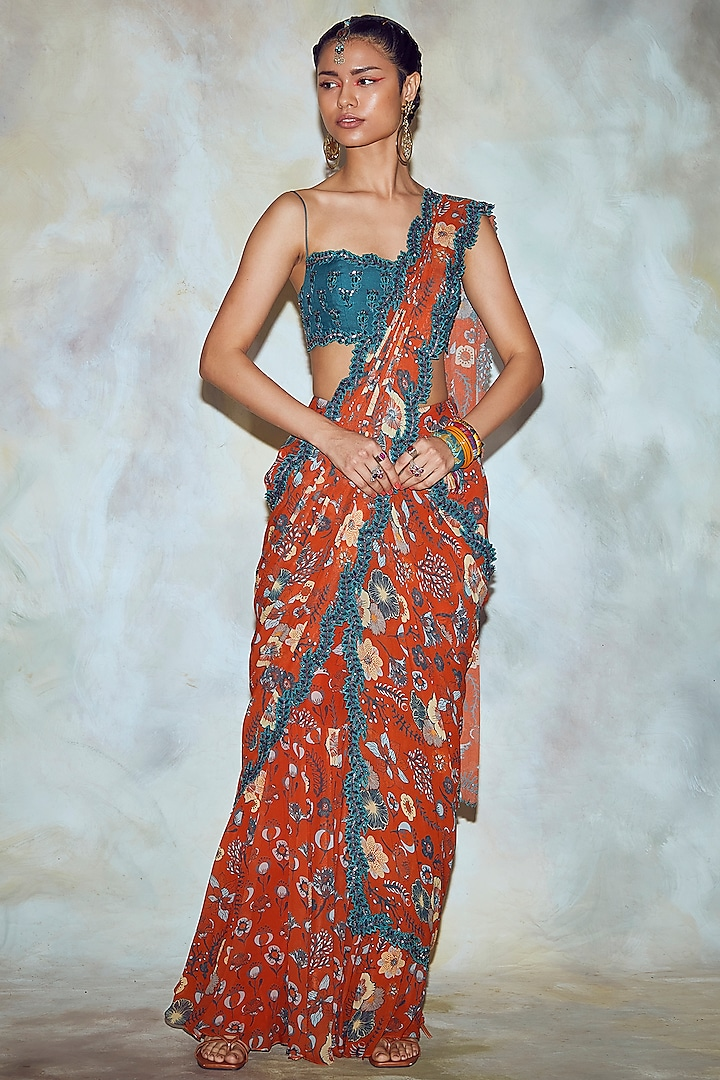 Rust Red Printed & Embroidered Pre-Stitched Saree Set by Diya Rajvvir