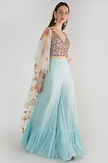 Powder Blue Embroidered Blouse With Sharara Pants & Long Jacket by Diya Rajvvir