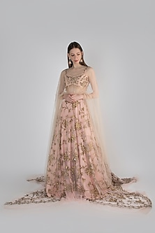 Blush Pink Embroidered Lehenga Set by Diya Rajvvir
