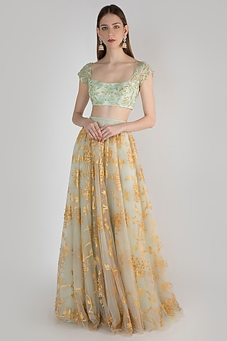 Yellow & Grey Painted Lehenga Skirt With Embroidered Blouse by Diya Rajvvir