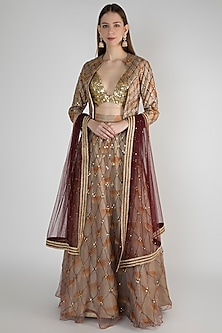 Maroon Embroidered Jacket Lehenga Set by Diya Rajvvir