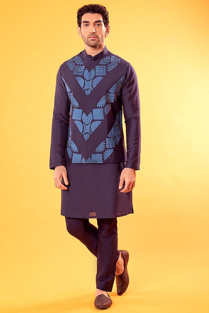 Cobalt Blue Embroidered Bundi Jacket With Kurta by Diya Rajvvir Men