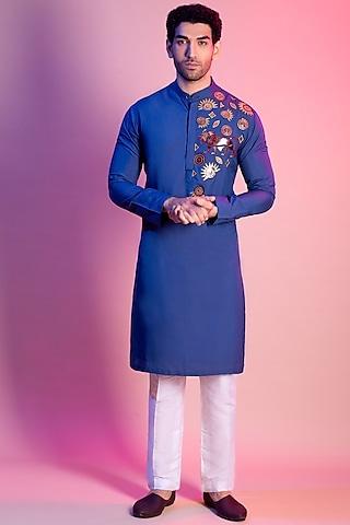 Indigo Blue Embroidered Kurta by Diya Rajvvir Men