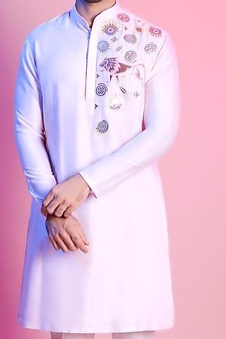 Blush Pink Embroidered Kurta by Diya Rajvvir Men