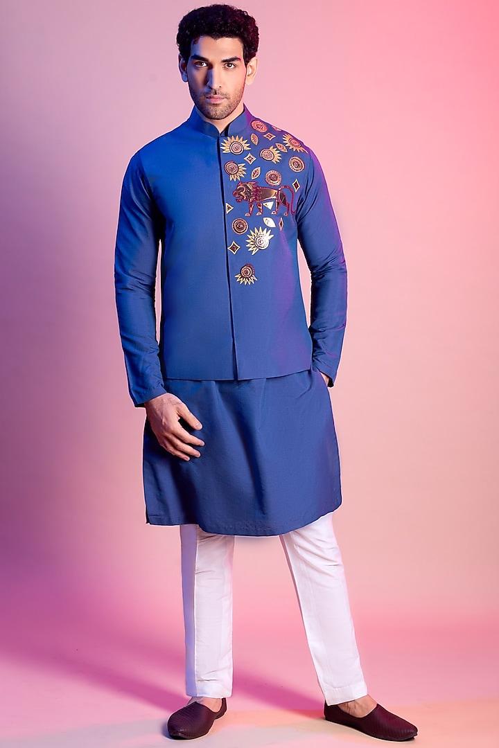Indigo Blue Embroidered Jacket With Kurta by Diya Rajvvir Men