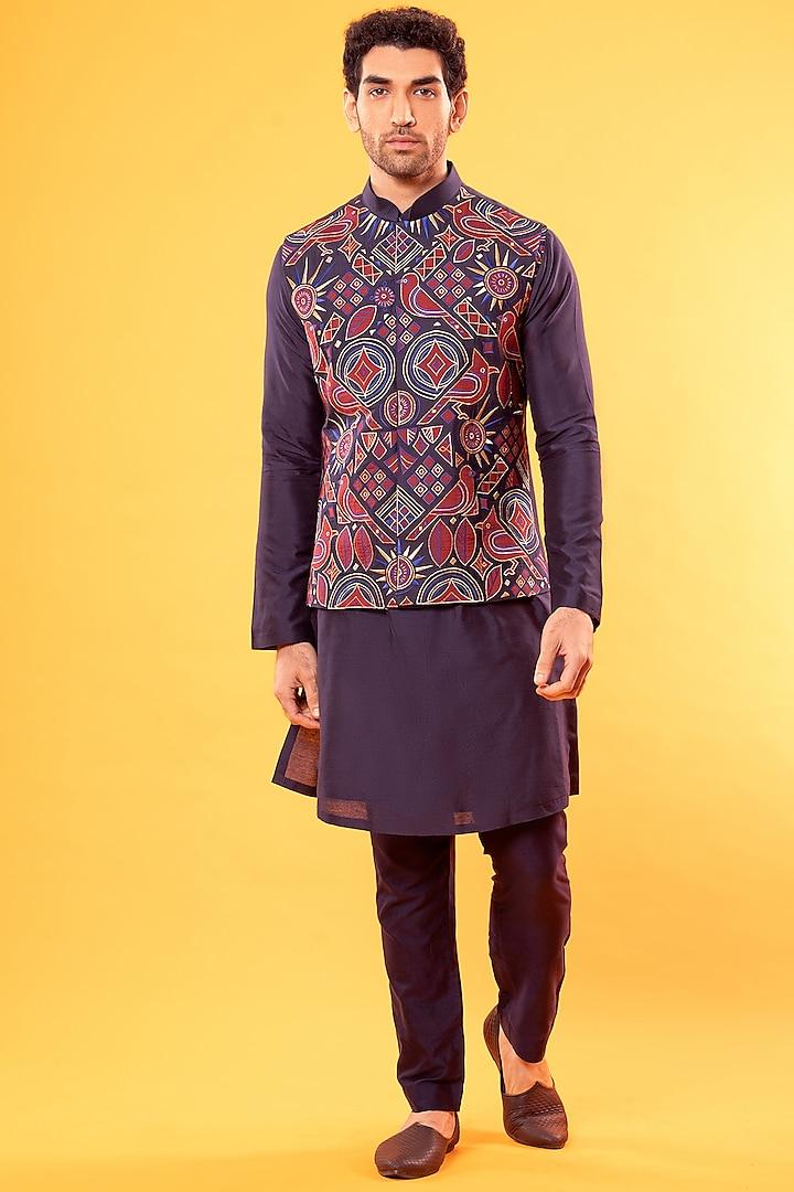 Purple Kurta With Embroidered Jacket by Diya Rajvvir Men