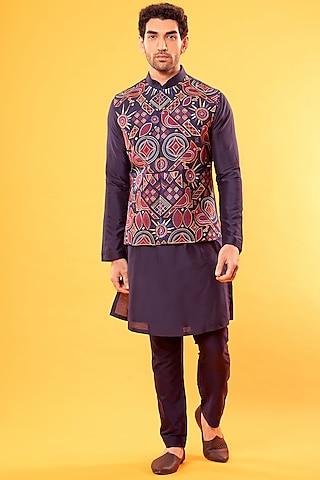 Cobalt Blue Kurta With Embroidered Jacket by Diya Rajvvir Men