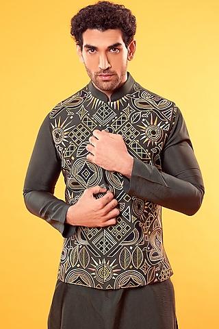 Olive Green Embroidered Jacket With Kurta by Diya Rajvvir Men