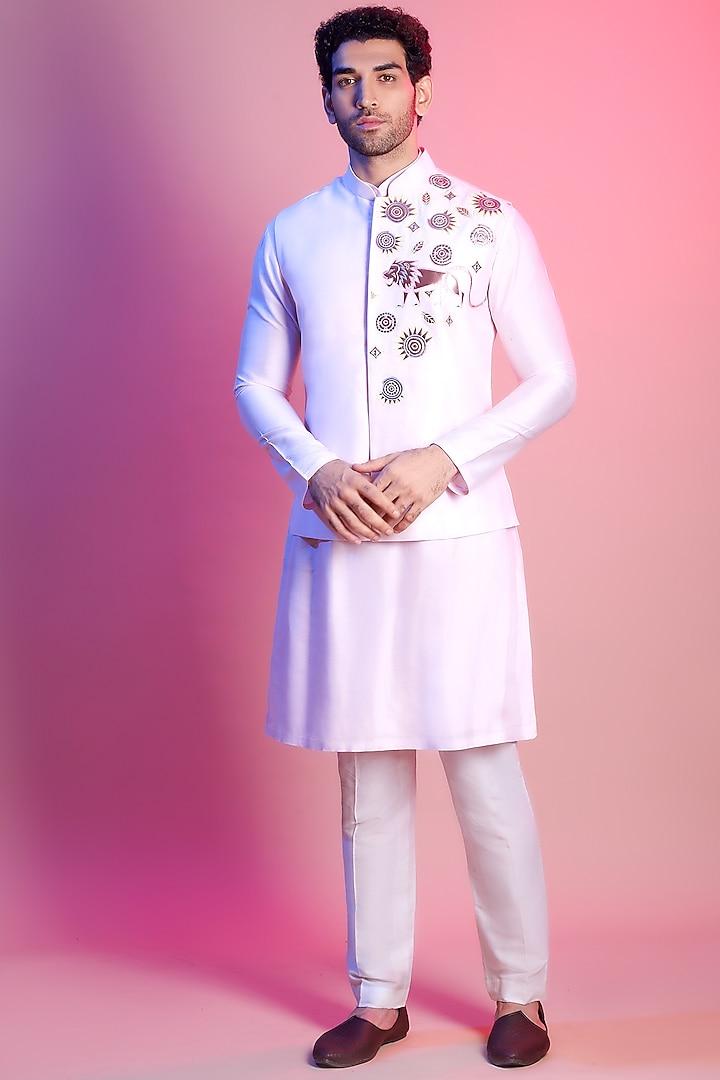 Blush Pink Embroidered Jacket With Kurta by Diya Rajvvir Men