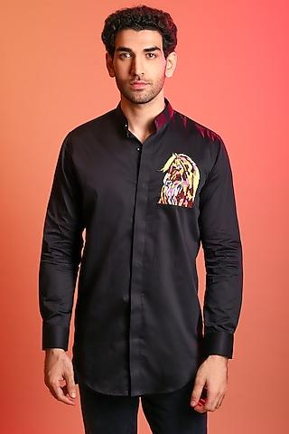 Black Hand Embroidered Shirt by Diya Rajvvir Men