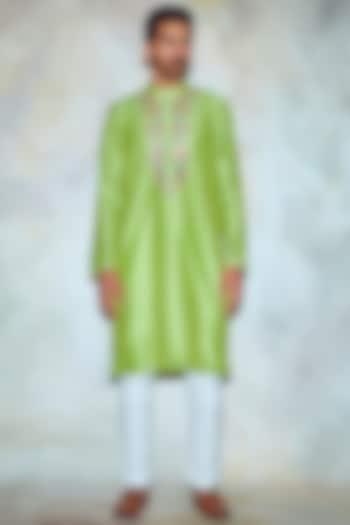 Parrot Green Embroidered Kurta by Diya Rajvvir Men