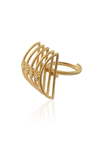"""Gold Plated Handcrafted """"Mini Meend"""" Ring by Dvibhumi"""