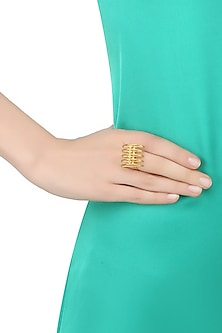 "Gold Plated Handcrafted ""Mini Meend"" Ring by Dvibhumi"