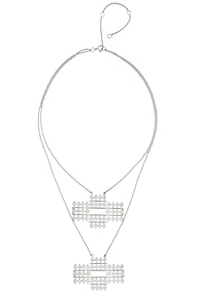 """Silver Finish Handcrafted Layered """" Riyaz"""" Dual Pendant Drop Long Necklace by Dvibhumi"""