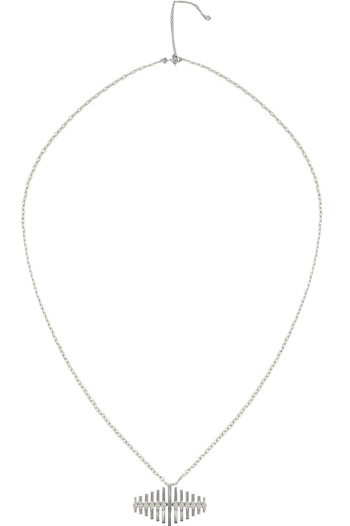 """Silver Finish """" Teevra"""" Vertical Bar Pendant Drop Long Necklace by Dvibhumi"""