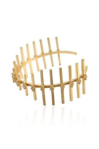 """Gold Plated Antique Finish Handcrafted """" Meyttu"""" Adjustable Cuff Bracelet by Dvibhumi"""