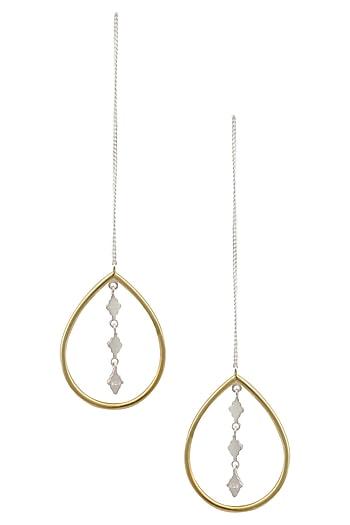 "Gold Plated Handcrafted Tear Drop ""Tabli"" Thread Earrings by Dvibhumi"