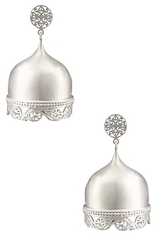 "Silver Finish Handcrafted "" Abhaya"" Lattice Work Dome Danglers by Dvibhumi"