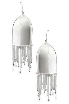 "Silver Finish ""Anila"" Textured Dome Fringe Drop Danglers by Dvibhumi"