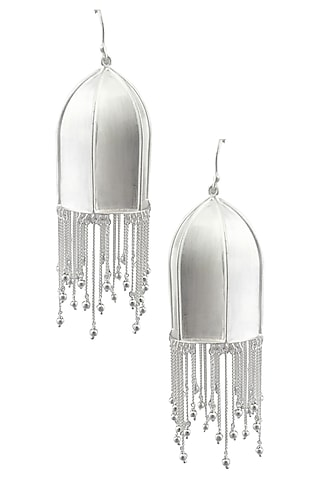 """Silver Finish """"Anila"""" Textured Dome Fringe Drop Danglers by Dvibhumi"""