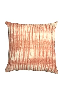 Coral Hand Woven & Tie Dye Ikat Cushion Cover With Filler by Vaishnavipratima