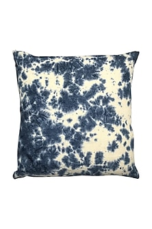 Blue Hand Woven & Tie Dye Ikat Cushion Cover With Filler by Vaishnavipratima