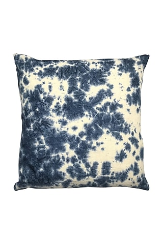 Blue Hand Woven & Tie Dye Ikat Cushion Cover With Filler by Vaishnavi Pratima