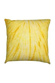 Yellow Hand Woven & Tie Dye Ikat Cushion Cover With Filler by Vaishnavi Pratima