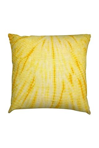 Yellow Hand Woven & Tie Dye Ikat Cushion Cover With Filler by Vaishnavi Pratima