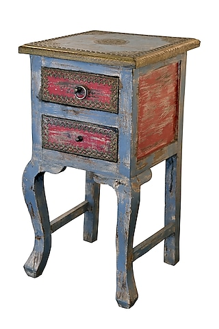 Grey & Red Sal Wood Table With Brass by Vaishnavi Pratima