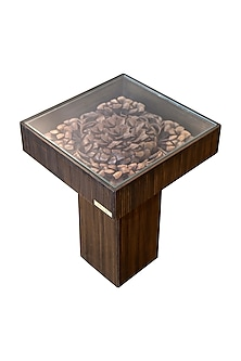 Brown Ebony Wood Carved End Table With Veneer Finish Base by Vaishnavipratima