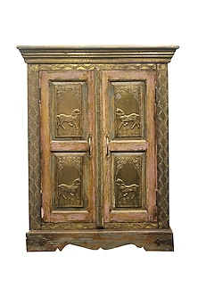 Brown Sal Wood Cabinet With Brass Inlay Of Galloping Horses by Vaishnavipratima