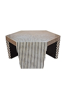Charcoal Black Bone Inlay Centre Table by Vaishnavipratima