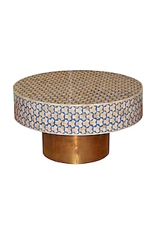 Cerulean Bone Inlay Centre Table With Brass Stand by Vaishnavipratima