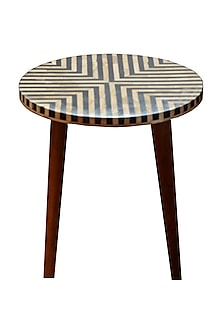 Charcoal Black Bone Inlay End Table With Wooden Legs by Vaishnavipratima