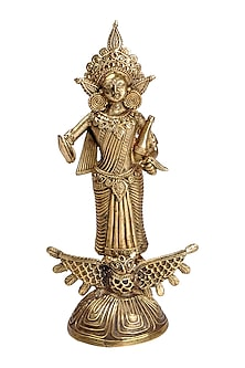 Bronze Dokhra Brass Finish Goddess Laxmi Showpiece by Vaishnavipratima