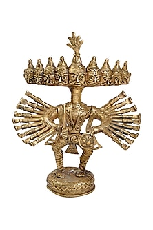 Bronze Dokhra Ten Headed Brass Finish Showpiece by Vaishnavi Pratima
