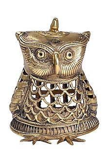 Bronze Dokhra Brass Finish Owl Showpiece by Vaishnavipratima