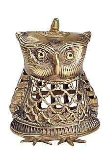 Bronze Dokhra Brass Finish Owl Showpiece by Vaishnavi Pratima