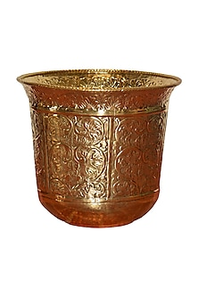 Bronze Floral Planter With Brass Finish by Vaishnavipratima