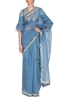 Blue Embroidered Saree Set by Devnaagri