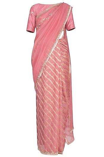 Pink Leheriya Embroidered Saree Set by Devnaagri