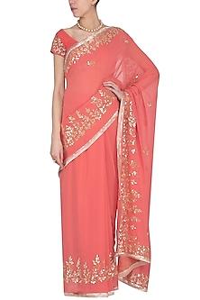Rose Pink Embroidered Saree Set by Devnaagri
