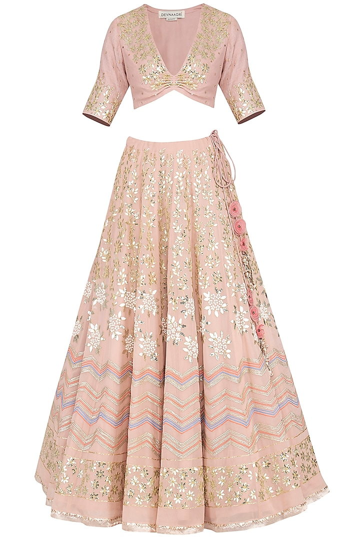 Blush Embroidered Lehenga Set by Devnaagri