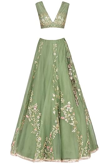 Green Embroidered Lehenga Set by Devnaagri